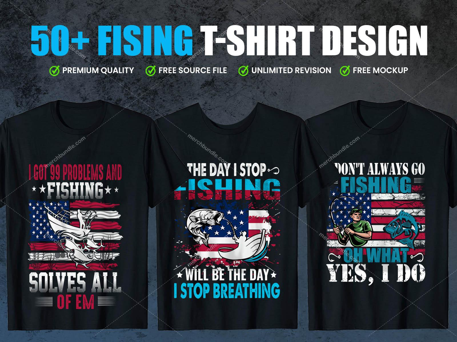 Print Ready Editable Fishing t-shirt design bundle