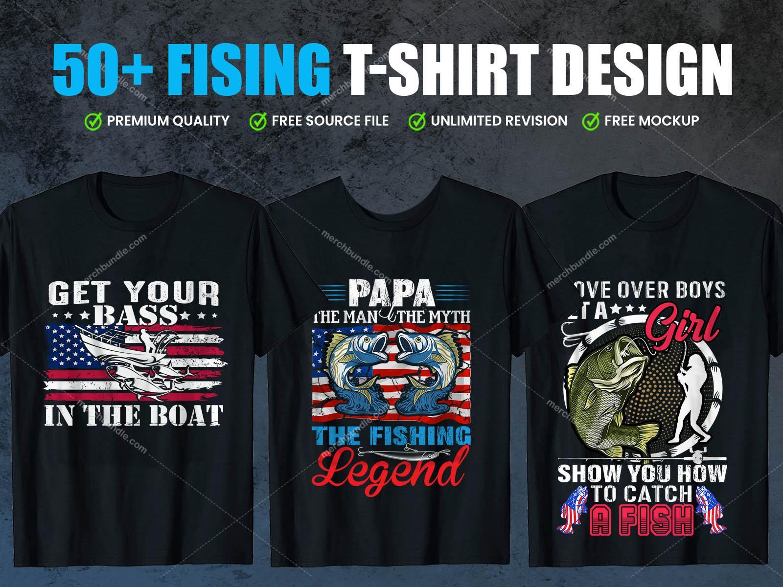 Print Ready Editable Fishing t-shirt design bundle