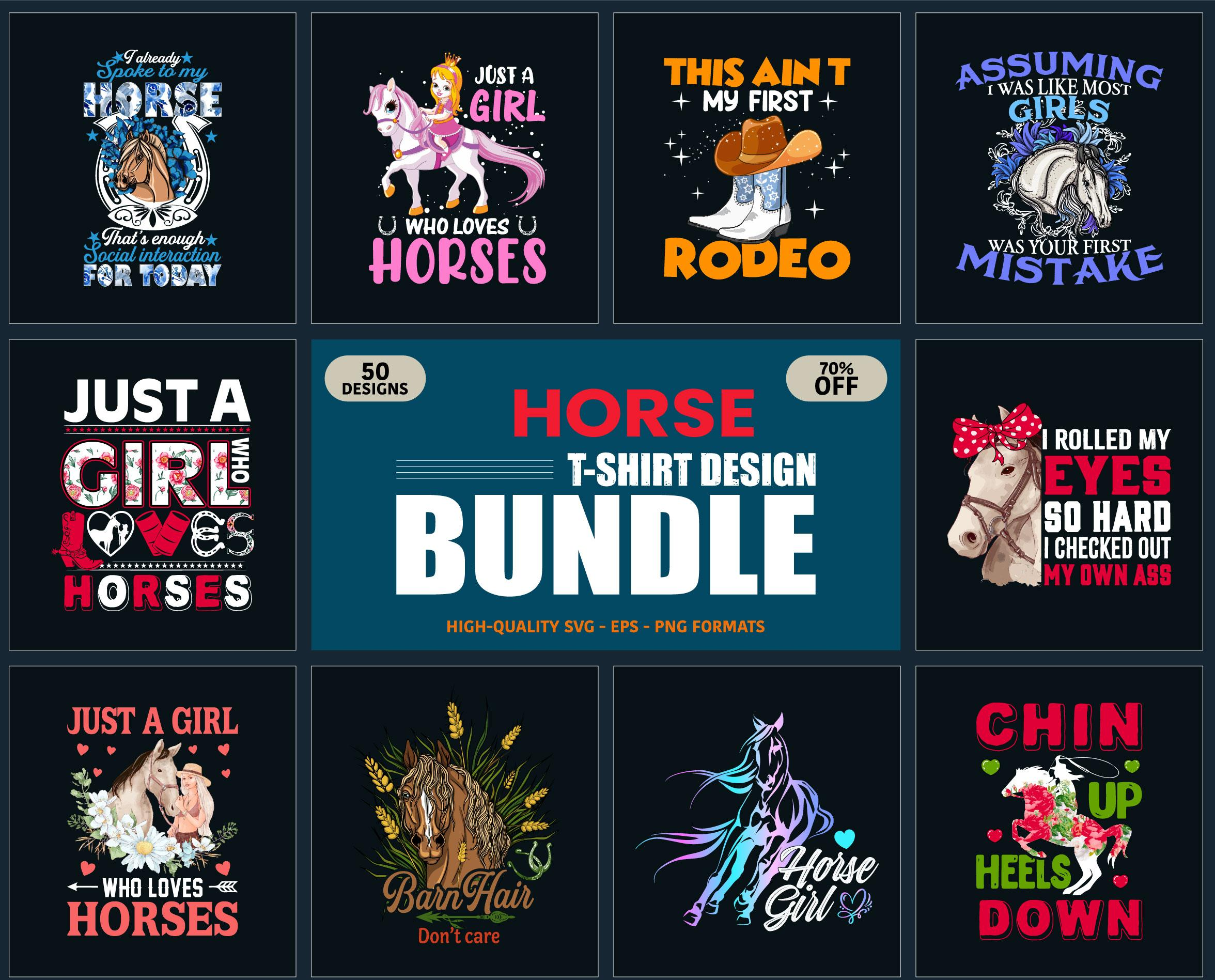 Print Ready Horse T-Shirt Design Bundles