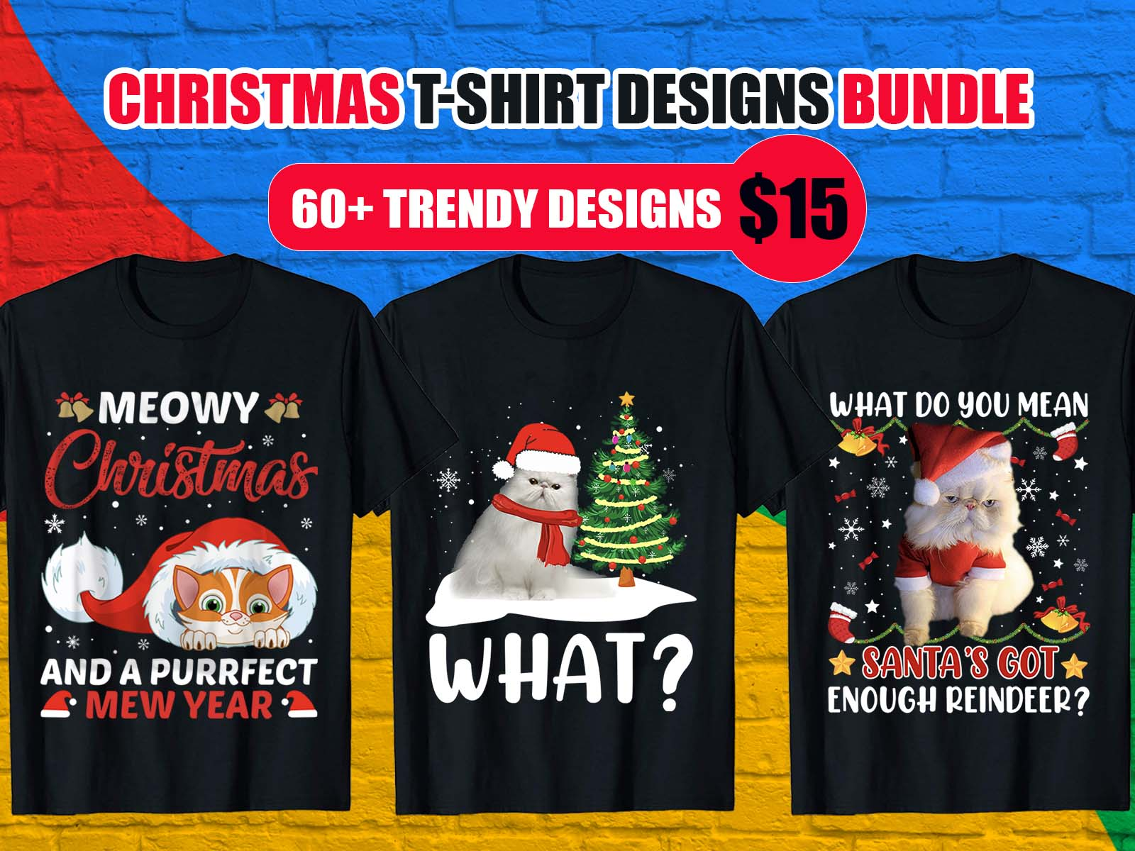 cat Christmas T-Shirt Design