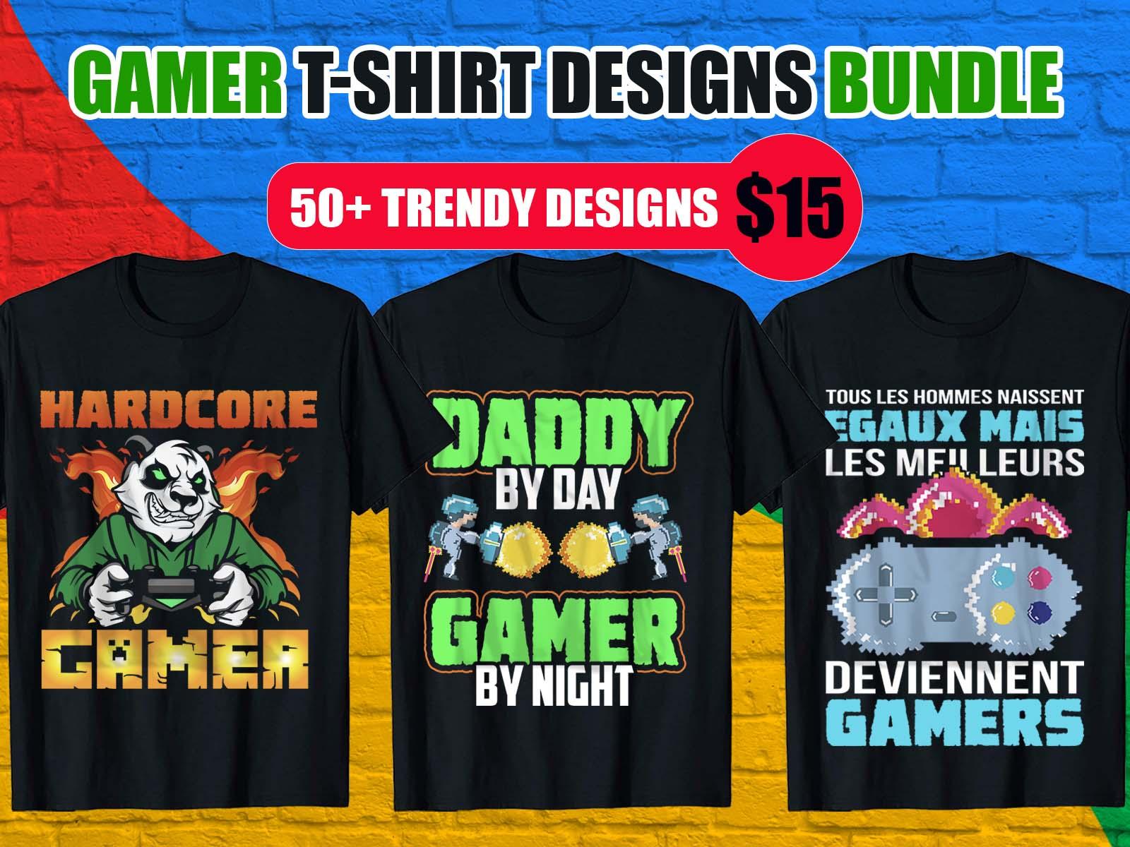 Trendy Gamer T-Shirt Design Bundle