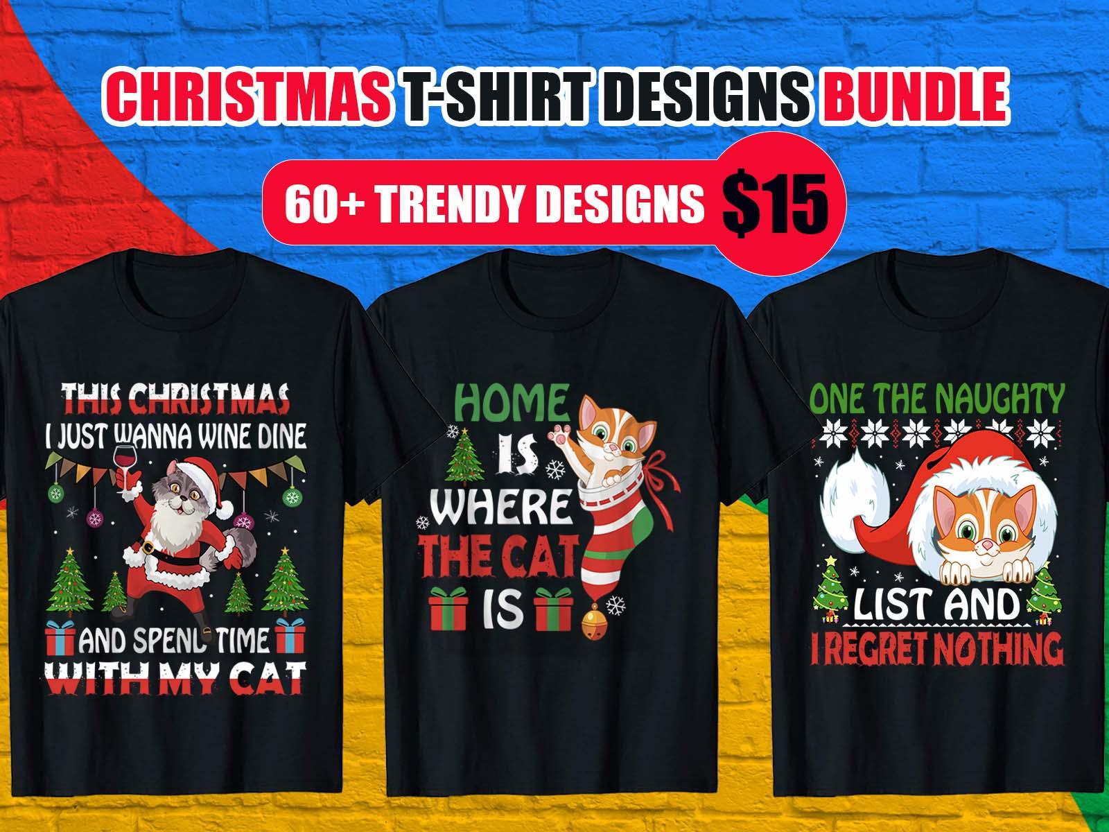 cat Christmas T-Shirt Design