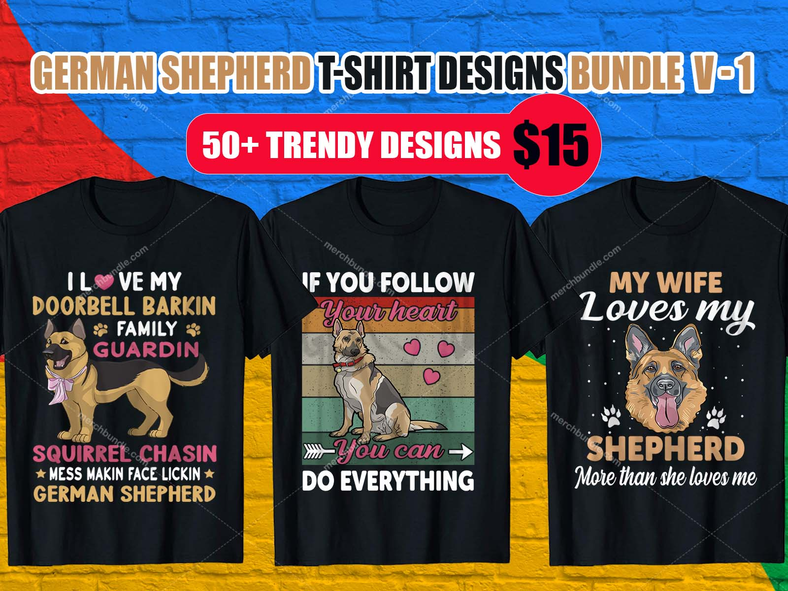 German Shepherd T Shirt Design Bundles