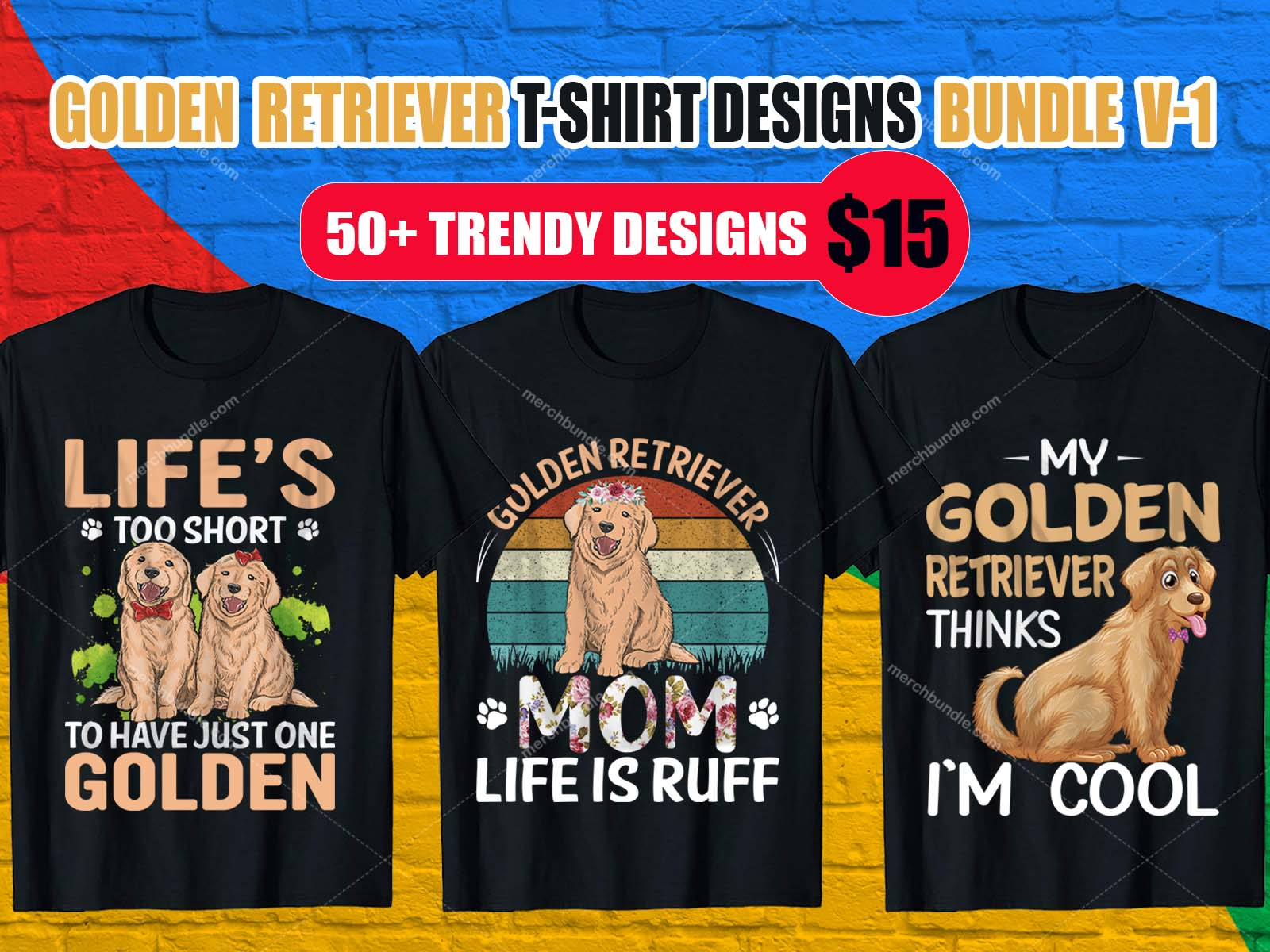Golden Retriever T-Shirt Designs Bundle