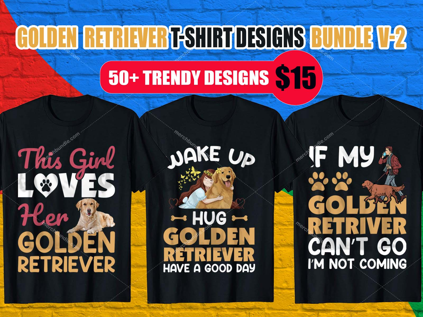 Golden Retriever T-Shirt Designs Bundle