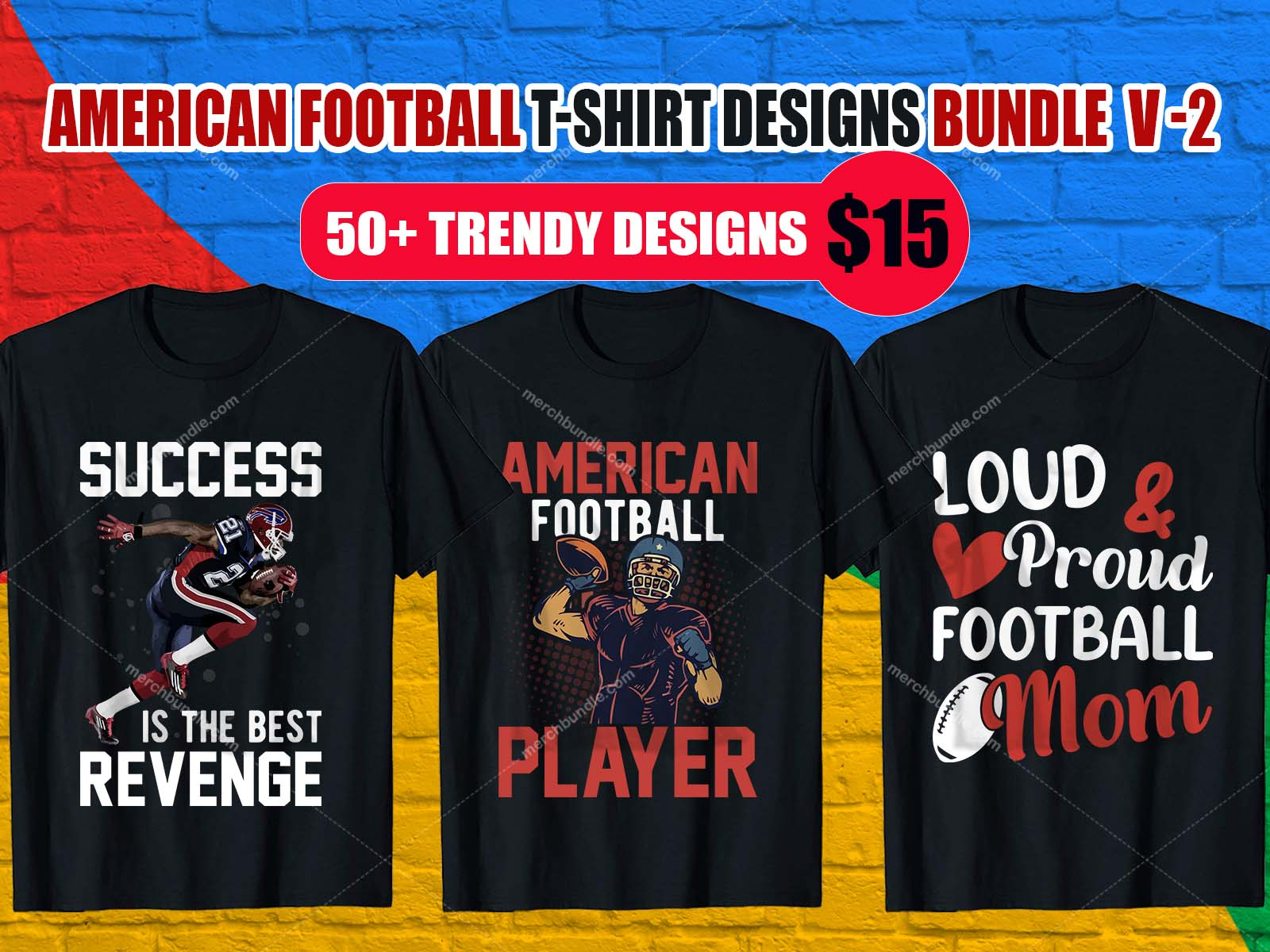 American Football T Shirt Designs Bundle