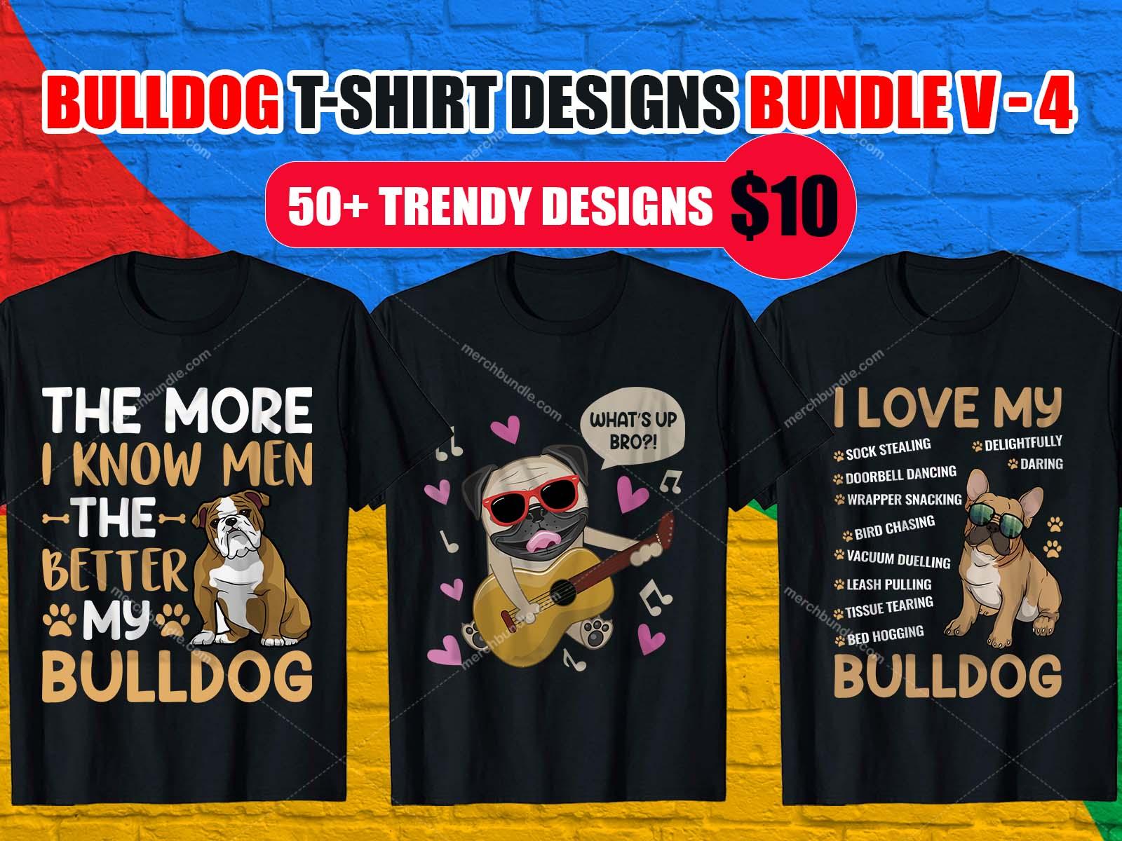 Bulldog T Shirt Design Bundle