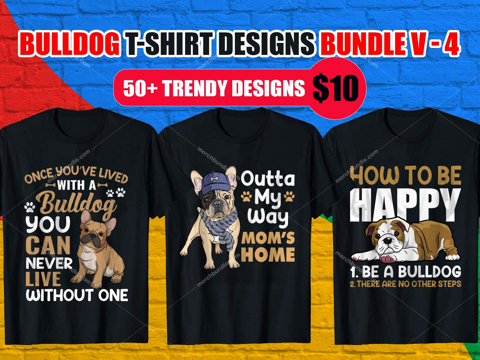 Bulldog T Shirt Design Bundle