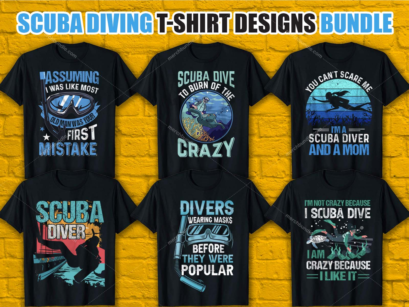 Scuba Diving T-Shirt Design Bundle