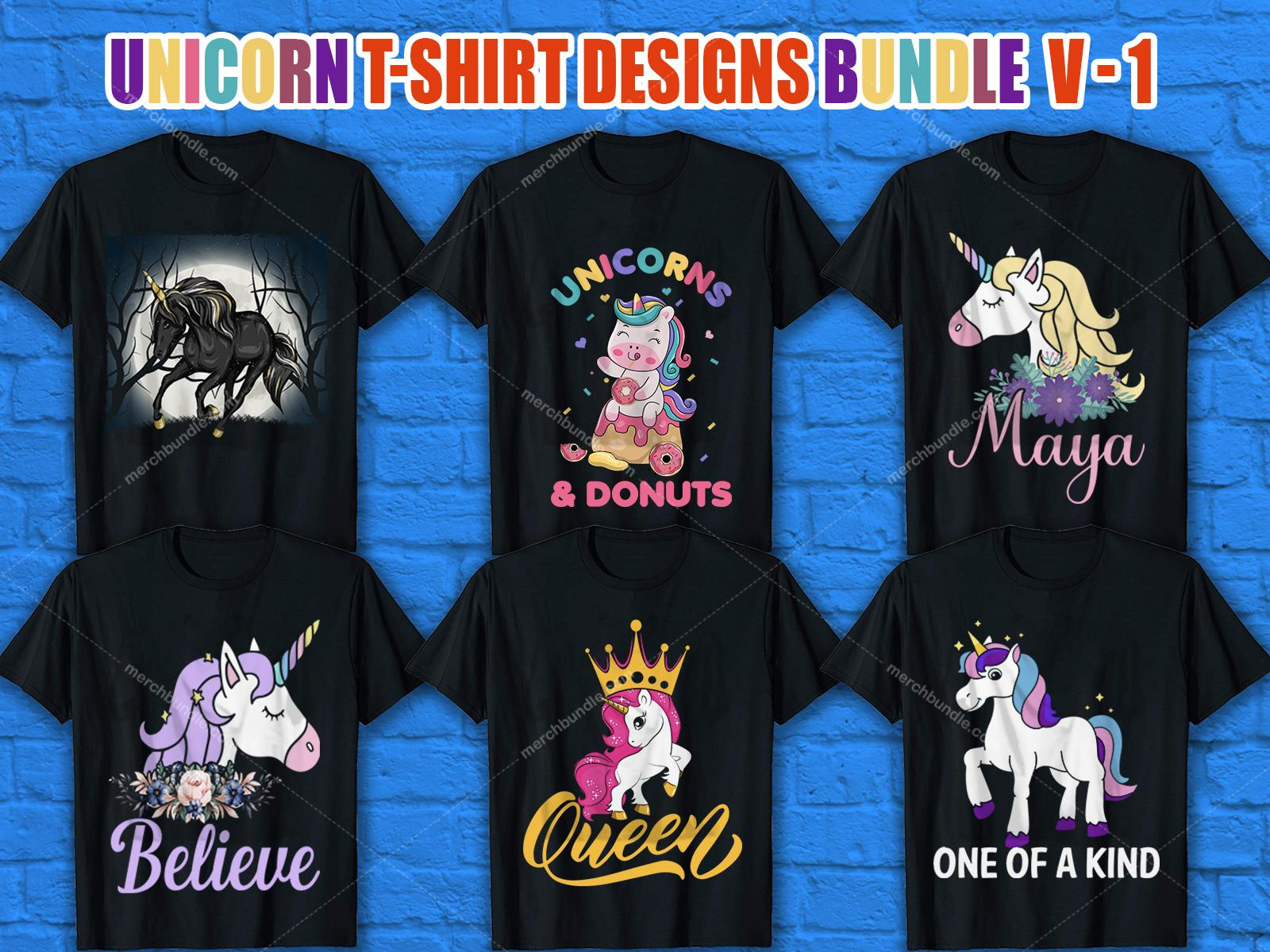 Unicorn T-Shirt Designs Bundle